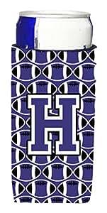 Caroline's Treasures CJ1068-HLITERK Letter H Football Purple and White Wine Bottle Koozie Hugger, 750ml, Multicolor