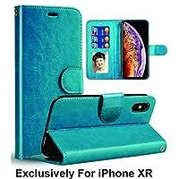 Pelotek;iPhone XR 豪华手机壳,iPhone XR 棕色钱包手机壳 | 优雅真皮超薄手机壳带挂绳、卡/身份证钱夹插槽|耐用内壳 | 迷人的奢华 蓝色