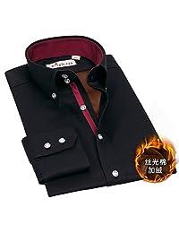 深海保暖衬衫男长袖黑色纯棉加绒加厚男士衬衣商务休闲修身