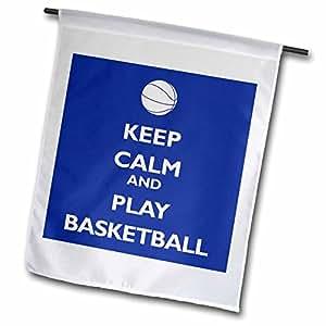 evadane–趣语–KEEP CALM and PLAY 篮球,蓝色和白色–旗帜 12 x 18 inch Garden Flag