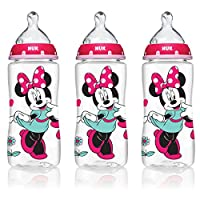 NUK Disney Minnie Mouse Orthodontic Bottle with Silicone Nipple, 10-Ounce, 3 Count