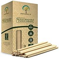 Naturalik 300 件装可生物降解纸管不含染料 - 优质环保纸吸管- 饮用吸管适用于果汁、冰沙、餐厅和派对装饰,19.7 厘米 棕色 300ct