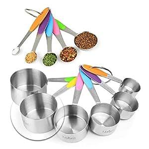 新版本! Laxinis World 11 件装量杯和勺子套装,采用坚固的不锈钢可叠放 6 杯和 5 个勺,带有软硅胶手柄,测量干爽和液体成分 多种颜色 MC-1