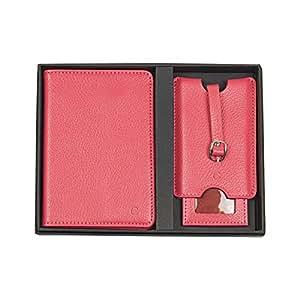 Cathy's Concepts 个性化皮革护照夹和行李标签套装 粉红色 3805PI-C