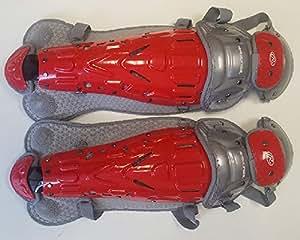 Rawlings 1 Pr LGVELI 红色/灰色天鹅绒中间捕手护腿适合 13-15