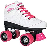 Lenexa Hoopla 青年女孩溜冰鞋 儿童 - 女孩和男孩 - 儿童溜冰鞋 - 儿童四轮滑冰鞋 男孩/女孩 - 儿童溜冰鞋(白色带粉色轮 6 号)