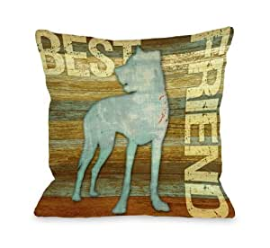 Bentin Pet Decor Best Friend Wood Throw Pillow, 16 by 16-Inch