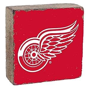 Rustic Marlin 设计 NHL 底特律红翼,球队颜色背景,球队标志块,15.24 cm x 15.24 cm x 5.08 cm