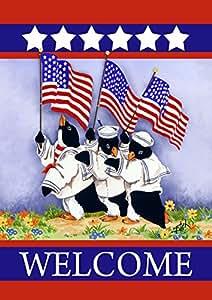 Toland Home Garden Patriotic Penguins 12.5 x 18 Inch Decorative Sailor Welcome USA America Double Sided Garden Flag