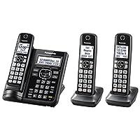 Panasonic 可伸缩无绳电话带电话屏和应答机 3 个手机套 黑色