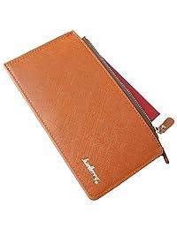 信用卡夹皮革双折钱包,带身份证窗口,适用于现金手机护照。