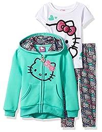 Hello Kitty 女童3件套拉链连帽套装带 T 恤和打底裤