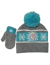 Disney 冰雪奇缘冬季帽子和手套套装,女孩年龄 1-4 岁,灰色和水*