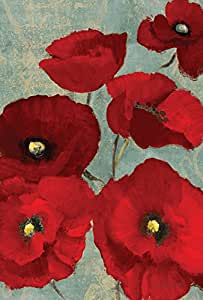 Toland Home Garden Red Painted Poppies 12.5 x 18 Inch Decorative Colorful Red Spring Poppy Flower Garden Flag