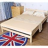 【支持定制】 MERRY GARDEN 美丽家园 实木双人床 松木大床 现代中式单人床 简约现代板式床 儿童床 无油漆 无甲醛 3017-1 (内径1.2*2.0M, 原木色)
