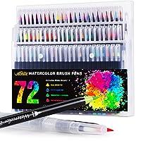 Vacnite 水彩画笔 水彩笔 72色套装 带3支水笔 成人和儿童用油画笔 柔软的真实水彩笔 适用于着色书画、书法艺术家和初学者