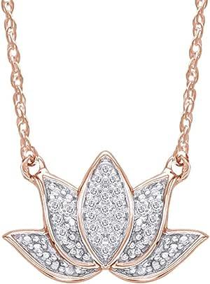 Samaira Jewelry 天然钻石莲花吊坠项链 14K 镀金 925 纯银(0.06 克拉,I-J 颜色,I2-I3 净度)