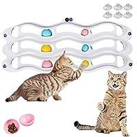 MelPet 猫玩具,室内猫咪互动猫玩具,3 层带运动球的轨道玩具,适用于所有猫和猫咪的乐趣锻炼,强力吸盘玩具,墙壁,窗户,浴室,节省空间。