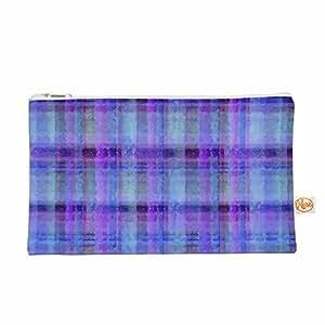 "KESS InHouse Carolyn Greifeld""水彩蓝格纹""紫色图案所有东西袋,8.5 英寸 x 6 英寸 (CG1018AEP01)"