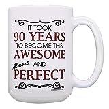90 岁生日礼物适合所有 Took 90 岁好玩礼物咖啡杯茶杯 15 oz White