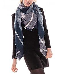 """achillea 女式超大格子呢格子方格毛毯式围巾大方形冬季保暖披肩 深蓝色 57"""" x 57"""""""