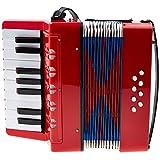 经典00037968 Bambino ROSSO 儿童手风琴 ( 17成绩按钮 , 8低音 , 可调肩带 - 穿皮带 ) 红色