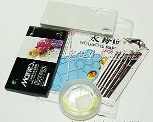 (辉盛阁)2014新款水粉7件套 水粉套装画笔颜料套装方便又实惠 美术用品 美术材料