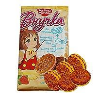 甜蜜农庄 俄罗斯进口 小孙女夹心饼干 350g*3袋 休闲零食 (香蕉草莓夹心饼干)