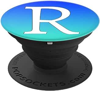 银白色首字母 R 手机抓地力绿松石蓝 PopSockets 手机和平板电脑抓握支架260027  黑色