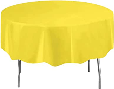 "Unique 99157 Round Plastic Tablecloth, 84"", Neon Yellow"
