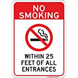NO SMOKING WITHIN 25 FEET 标志。 易读 17.78cm x 25.40cm 商用铝。 *生锈或褪色。 Clearly 让每个人知道,不允许吸*。 Do Not Smoke Here。 任何地方安装