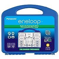 """Panasonic松下eneloop电源组 K-KJ17MCC82A ,新2100周期,8AA,2AAA,2""""C""""间隔,2""""D""""垫片,""""高级""""独立电池充电器"""