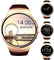 蓝牙智能手表,Keoker 1.3 英寸 IPS 圆形触摸屏智能手表手机,带 SIM 卡插槽,*显示器,心率监控器和计步器,适用于 IOS 和 Android 设备Kw18 金色
