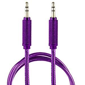 lilware 编织尼龙透明 PVC 夹克1米 aux 音频线3.5mm JACK 公对公线适用于多媒体设备–父