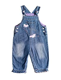 ZL MAGIC 婴幼儿小女孩刺绣软围兜牛仔连体衣水洗牛仔裤