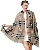 Glovin 女式 纯羊毛精纺格纹围巾披肩 G15024038