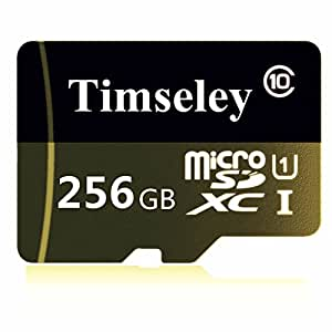Timseley 256GB Micro SD SDXC 内存卡 Class 10,带 Micro SD 适配器