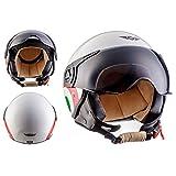 MOTO HELMETS H44 机车头盔浮标机复古摩托车 Jet-Helmet Scooter-Helmet Cruiser Mofa Vespa-Helmet Pilot 复古,ECE 认证,包括。 布袋 L (59-60cm) 白色 H44 - Italy - L