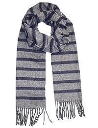 Geoffrey Beene 男式围巾条纹羊绒触感意大利制造
