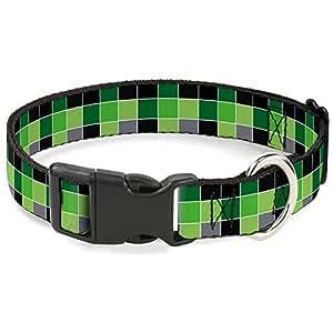 """带扣塑料扣项圈 - 格子 黑色/Rasta Checker Mosaic Green 1/2"""" Wide - Fits 8-12"""" Neck - Medium"""