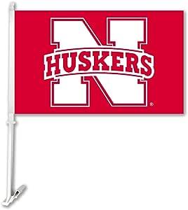 NCAA Nebraska Cornhuskers Car Flag with Wall Brackett