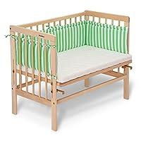Ffabimax 婴儿边床 BASIC基本自然 , 色,包括床垫和侧垫鸟巢陈 陈 , 9种颜色可供选择 grün/weiß mit Matratze CLASSIC