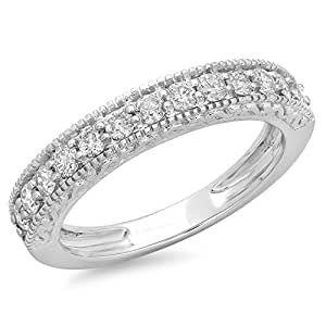 0.55 Carat (ctw) 14K White Gold Round Diamond Ladies Millgrain Wedding Stackable Band 1/2 CT (Size 7)