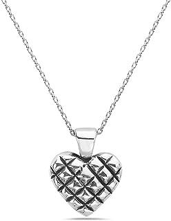 Pori Jewelers 925 纯银钻石图案心形吊坠项链女式 - 45.72 cm 锚链