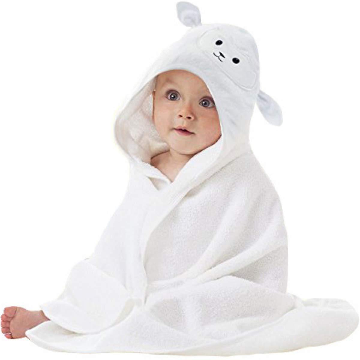 有機竹ベビータオルマフラーの子供たちがのためのかわいい羊の顔のデザインとスーパーソフト吸水タオルスカーフ男の子か女の子のシャワー