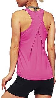 mippo 女式性感露背瑜珈上衣露背健身服装主动 T 恤