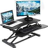 VIVO 高度可调节站立办公桌 SIT TO 支架转换器 | 5.08cm 宽桌面 workstation 适合双显示器