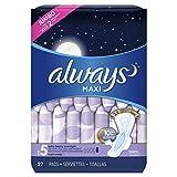 Always Maxi,尺码 5,加重带护翼垫,无香味,27 片装,包装或有不同