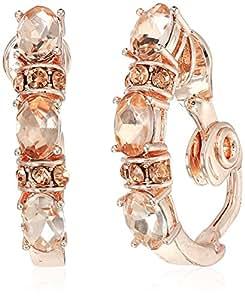 ANNE KLEIN 玫瑰金色 C HOOP 夹式耳环