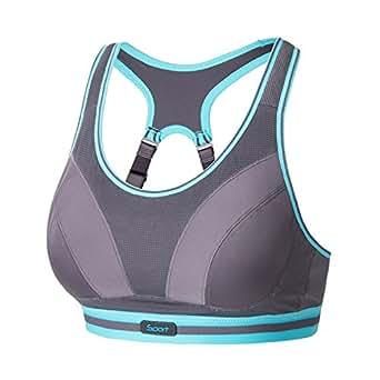 SYROKAN 女士运动内衣 专业运动内衣 跑步防震运动文胸 无钢圈无垫 灰色 80G(36F)